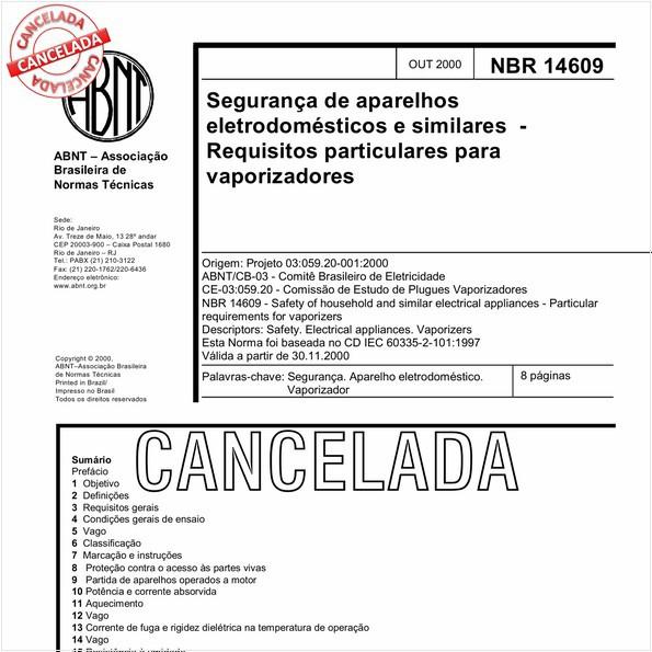 Segurança de aparelhos eletrodomésticos e similares - Requisitos particulares para vaporizadores