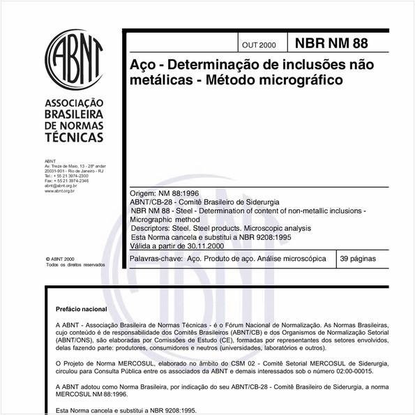 Aço - Determinação de inclusões não metálicas - Método micrográfico