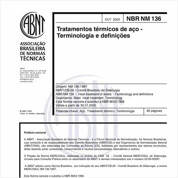 Tratamentos térmicos de aço - Terminologia e definições