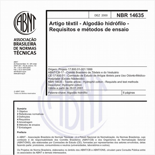 Artigo têxtil - Algodão hidrófilo - Requisitos e métodos de ensaio