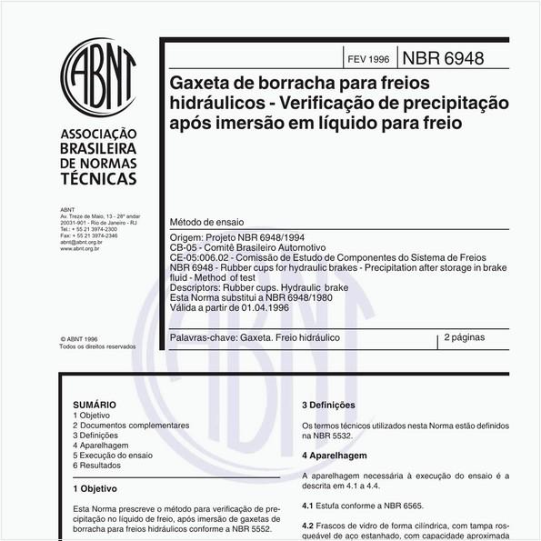 Gaxeta de borracha para freios hidráulicos - Verificação de precipitação após imersão em líquido para freio