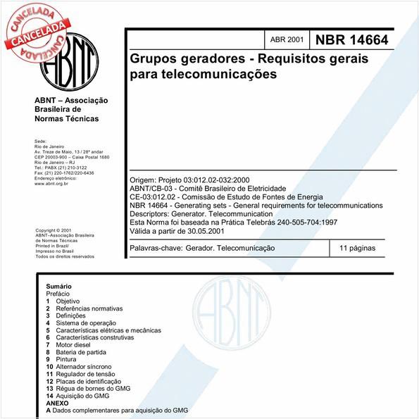 Grupos geradores - Requisitos gerais para telecomunicações