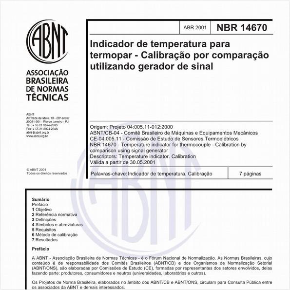 Indicador de temperatura para termopar - Calibração por comparação utilizando gerador de sinal