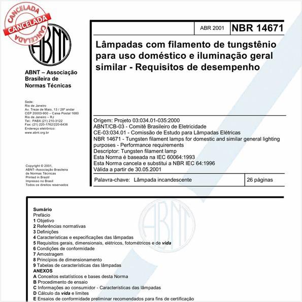 Lâmpadas com filamento de tungstênio para uso doméstico e iluminação geral similar - Requisitos de desempenho