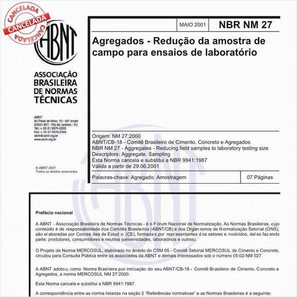 Agregados - Redução da amostra de campo para ensaios de laboratório