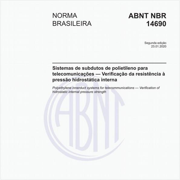 Sistemas de subdutos de polietileno para telecomunicações - Verificação da resistência à pressão hidrostática interna
