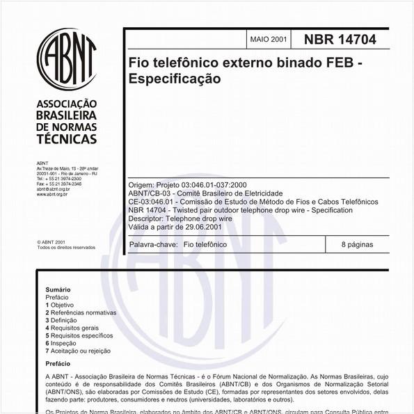 Fio telefônico externo binado FEB - Especificação
