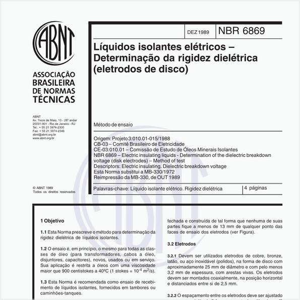 Líquidos isolantes elétricos - Determinação da rigidez dielétrica (eletrodos de disco)
