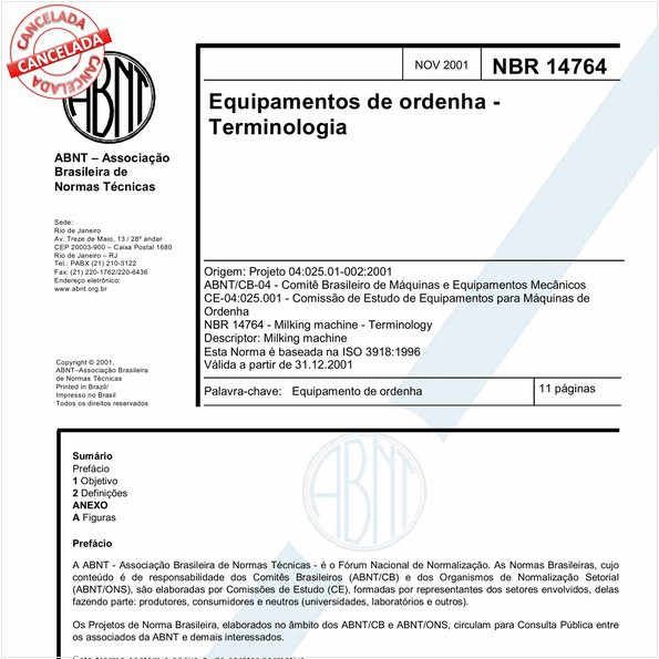 Equipamentos de ordenha - Teminologia