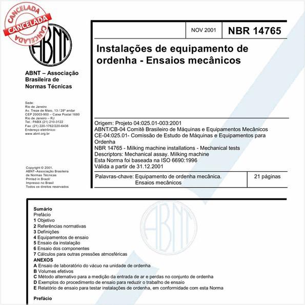 Instalações de equipamento de ordenha - Ensaios mecânicos