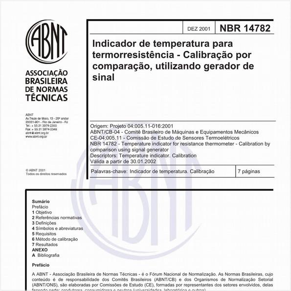 Indicador de temperatura para termorresistência - Calibração por comparação, utilizando gerador de sinal