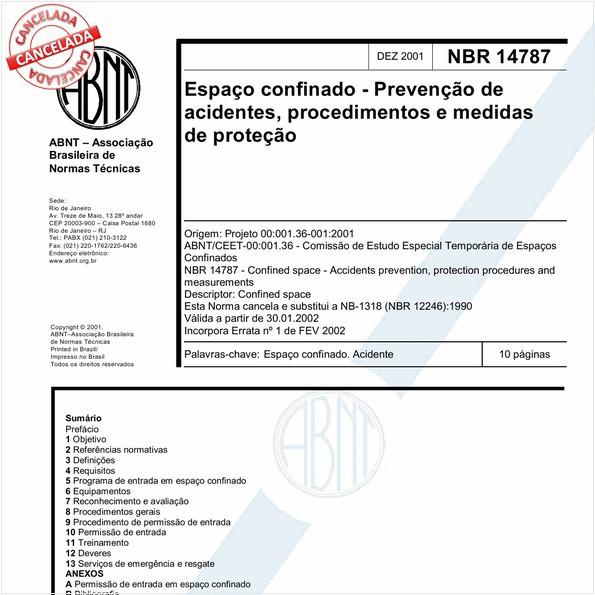 Espaço confinado - Prevenção de acidentes, procedimentos e medidas de proteção
