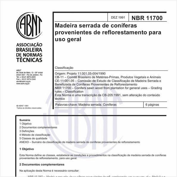 Madeira serrada de coníferas provenientes de reflorestamento para uso geral - Classificação