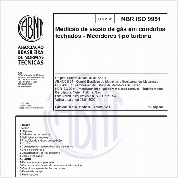 Medição de vazão de gás em condutos fechados - Medidores tipo turbina