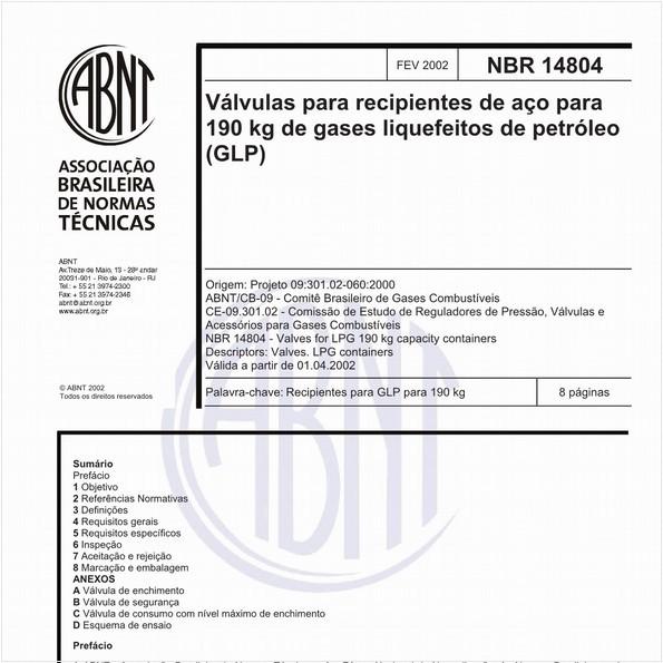 Válvulas para recipientes de aço para 190 kg de gases liquefeitos de petróleo (GLP)