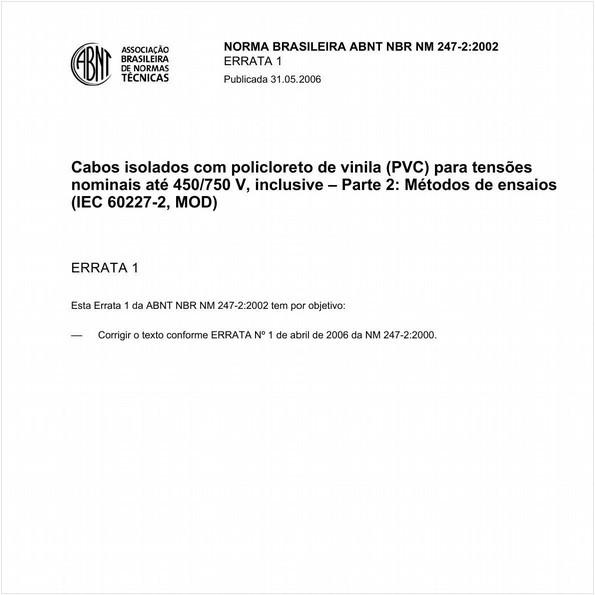 Cabos isolados com policloreto de vinila (PVC) para tensões nominais até 450/750 V, inclusive - Parte 2: Métodos de ensaios (IEC 60227-2, MOD)