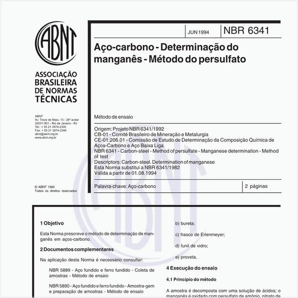 Aço-carbono - Determinação do manganês - Método do persulfato