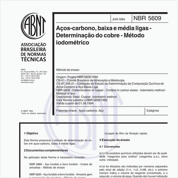 Aços-carbono, baixa e média ligas - Determinação do cobre - Método iodométrico
