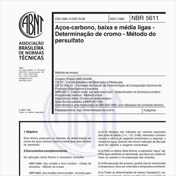 Aços-carbono, baixa e média ligas - Determinação de cromo - Método do persulfato