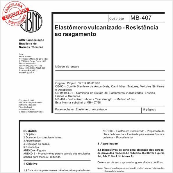 Elastômero vulcanizado - Resistência ao rasgamento