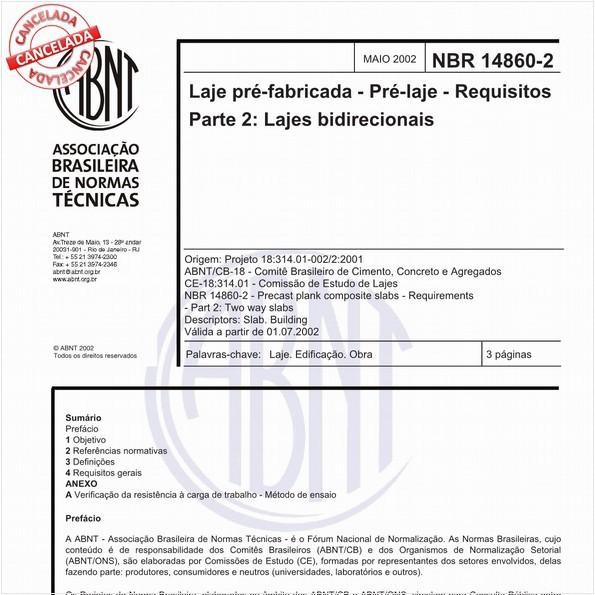 Laje pré-fabricada - Pré-laje - Requisitos - Parte 2: Lajes bidirecionais