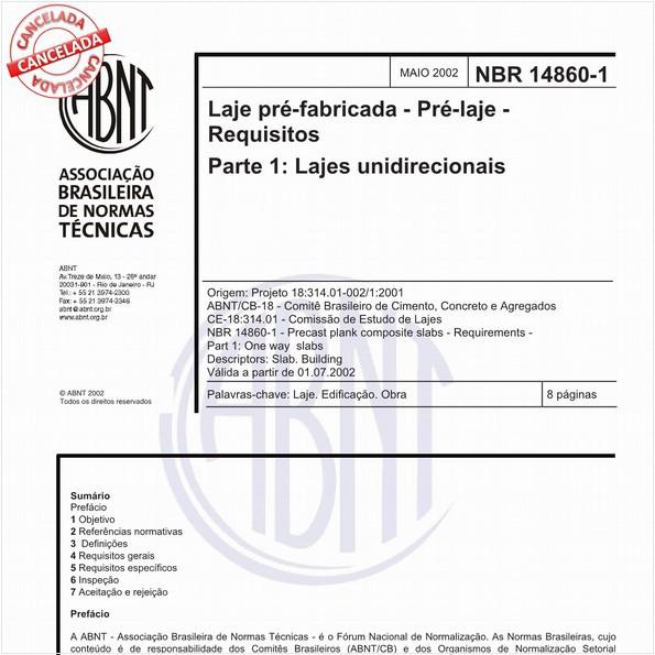 Laje pré-fabricada - Pré-laje - Requisitos - Parte 1: Lajes unidirecionais