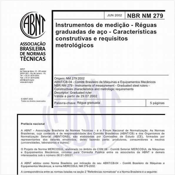 Instrumentos de medição - Réguas graduadas de aço - Características construtivas e requisitos metrológicos