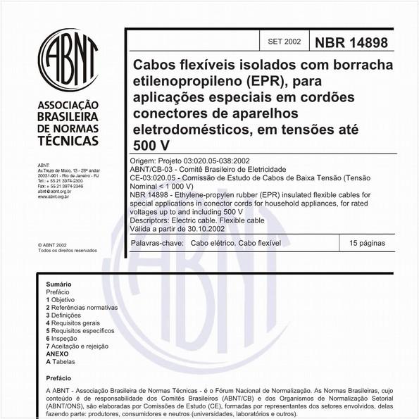 Cabos flexíveis isolados com borracha etilenopropileno (EPR), para aplicações especiais em cordões conectores de aparelhos eletrodomésticos, em tensões até 500 V
