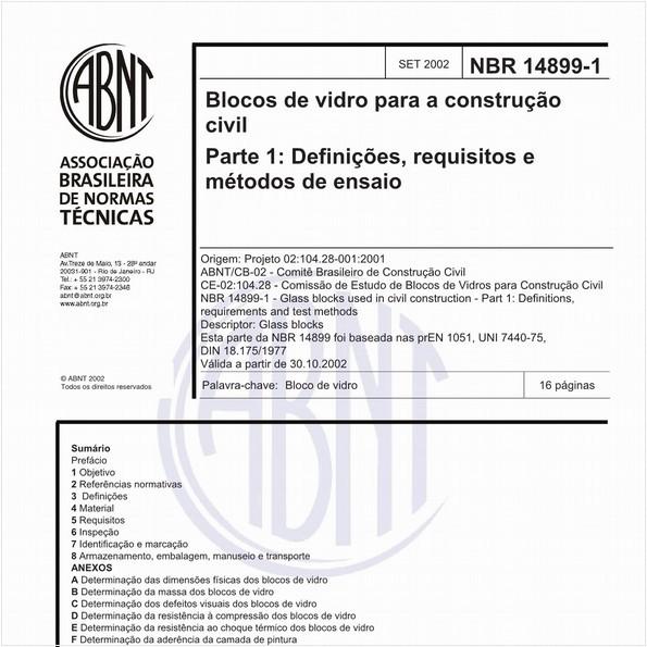 Blocos de vidro para a construção civil - Parte 1: Definições, requisitos e métodos de ensaio