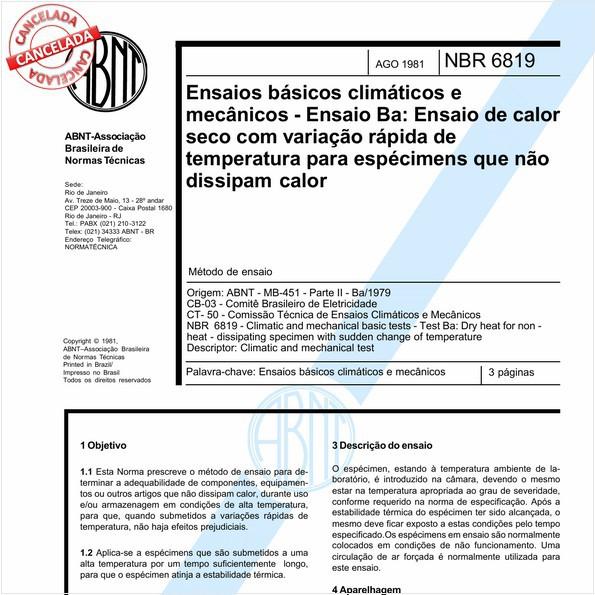 Ensaios básicos climáticos e mecânicos - Ensaio Ba: Ensaio de calor seco com variação rápida de temperatura para espécimens que não dissipam calor