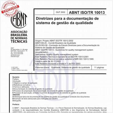 ABNT ISO/TR10013 de 10/2002