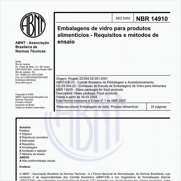Embalagens de vidro para produtos alimentícios - Requisitos e métodos de ensaio
