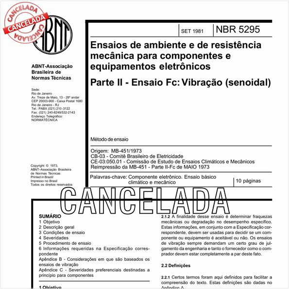 Ensaios de ambiente e de resistência mecânica para componentes e equipamentos eletrônicos - Ensaio Fc: Vibração senoidal