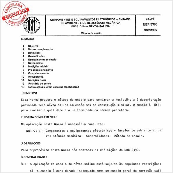Componentes e equipamentos eletrônicos - Ensaios de ambiente e de resistência mecânica - Ensaio Ka - Névoa salina