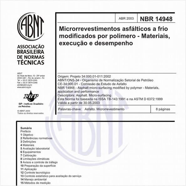 Microrrevestimentos asfálticos a frio modificados por polímero - Materiais, execução e desempenho