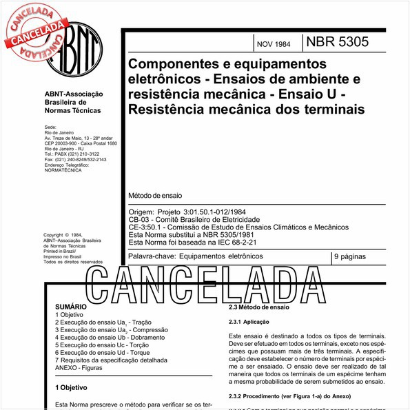 Componentes e equipamentos eletrônicos - Ensaios de ambiente e de resistência mecânica - Ensaio U - Resistência mecânica dos terminais