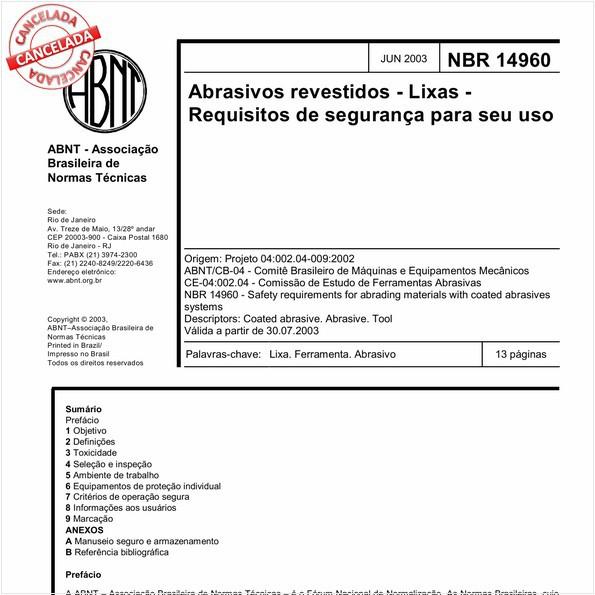 Abrasivos revestidos - Lixas - Requisitos de segurança para seu uso