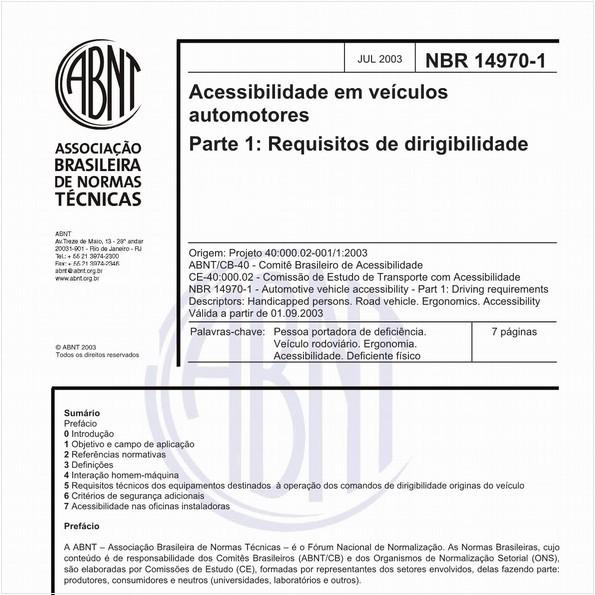 Acessibilidade em veículos automotores - Parte 1: Requisitos de dirigibilidade