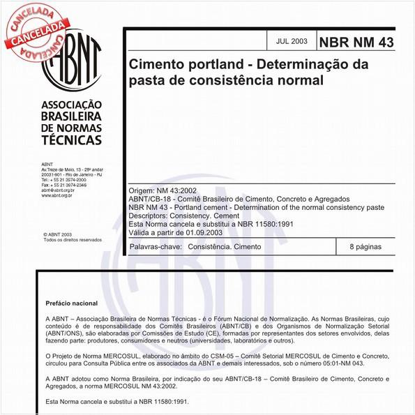Cimento portland - Determinação da pasta de consistência normal
