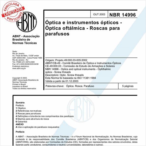 Óptica e instrumentos ópticos - Óptica oftálmica - Roscas para parafusos
