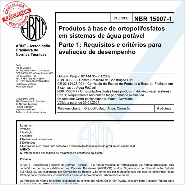 Produtos à base de ortopolifosfatos em sistemas de água potável - Parte 1: Requisitos e critérios para avaliação de desempenho
