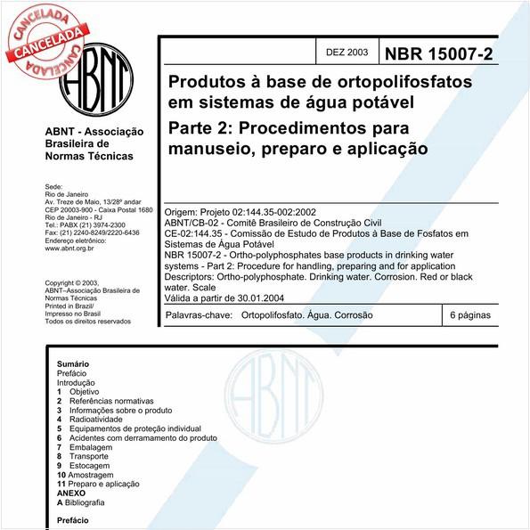 Produtos à base de ortopolifosfatos em sistemas de água potável - Parte 2: Procedimentos para manuseio, preparo e aplicação