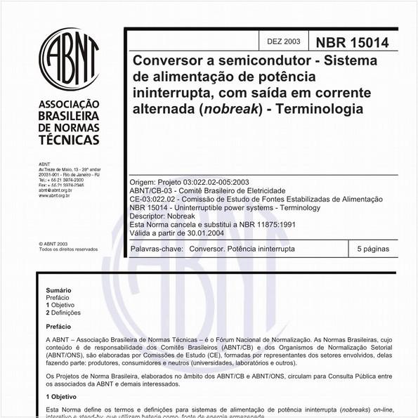 Conversor a semicondutor - Sistema de alimentação de potência ininterrupta, com saída em corrente alternada (nobreak) - Terminologia