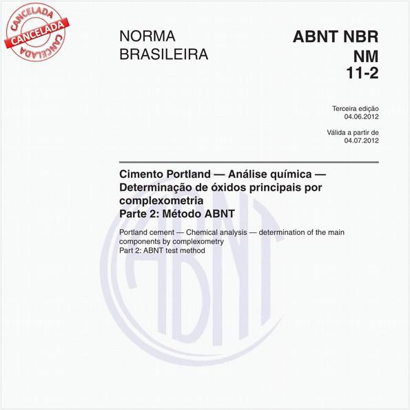 Cimento Portland - Análise química - Determinação de óxidos principais por complexometria Parte 2: Método ABNT