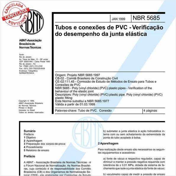 Tubos e conexões de PVC - Verificação do desempenho da junta elástica