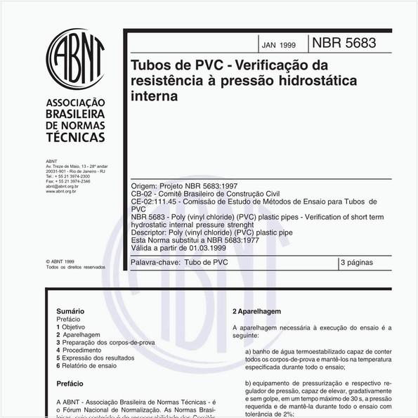 Tubos de PVC - Verificação da resistência à pressão hidrostática interna