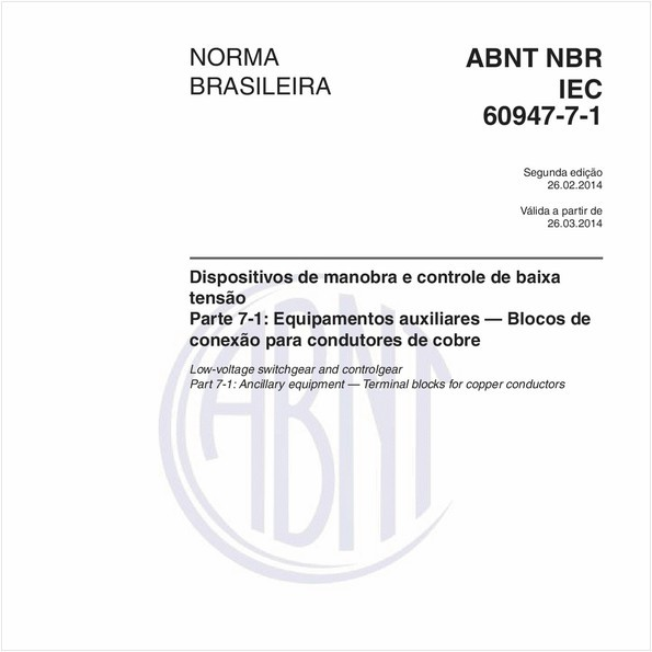 NBRIEC60947-7-1 de 02/2014