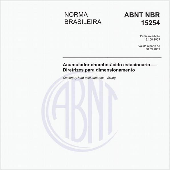 Acumulador chumbo-ácido estacionário - Diretrizes para dimensionamento