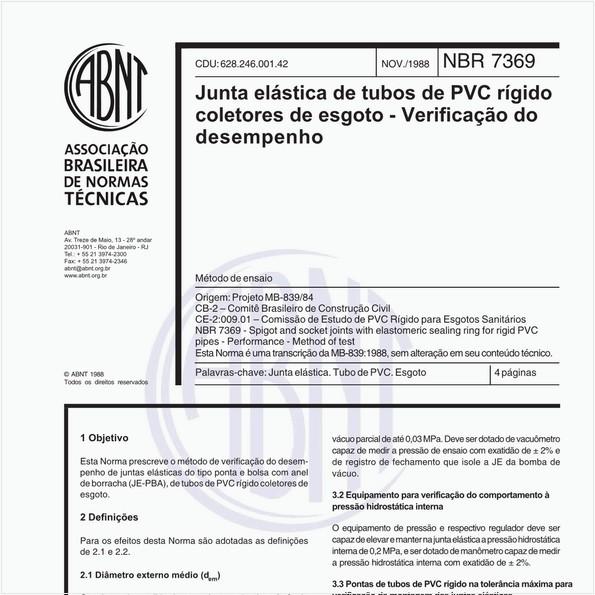 Junta elástica de tubos de PVC rígido coletores de esgoto - Verificação do desempenho