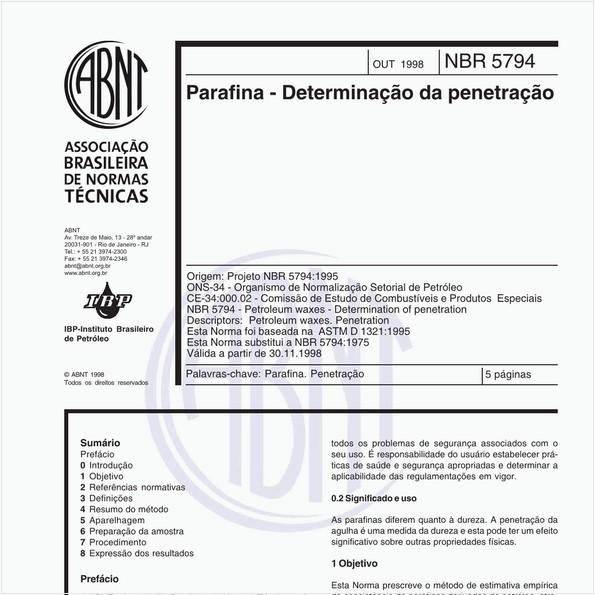 Parafina - Determinação da penetração